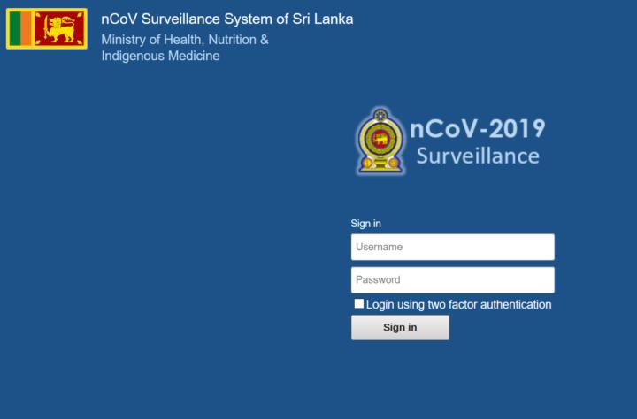 Sri Lanka COVID Tracker system homepage