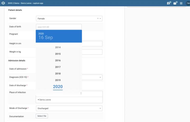 DHIS2.35 Year Selector screenshot