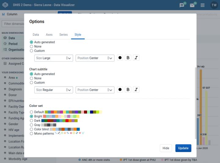 DHIS2.35 chart color sets screenshot